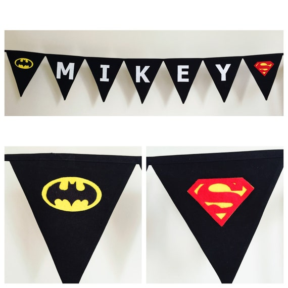 personalised batman vs superman bunting banner flags by