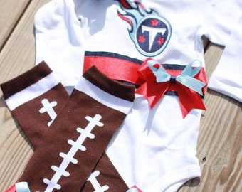 football applique onesie / shirt , football leg warmers with bows , marching hairbow set