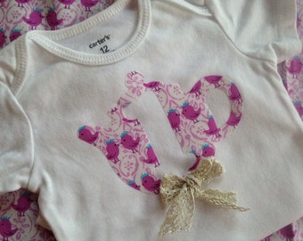 1st Birthday Girl Outfit   Vintage~Style Tea Party Birthday   Shabby Chic First Birthday Girl Shirt   Twin Birthday Girl '1' Outfit