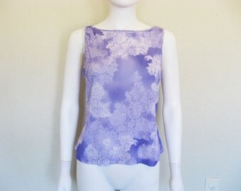 Pastel Purple Print Sleeveless Shirt - Large