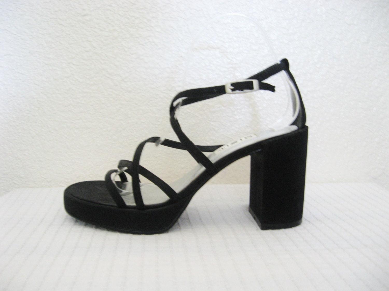 90s Strappy Black Platform Heels / Sandals 6 women's