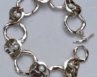 Silver Bracelet Sterling Silver 925 Sculptured Handmade Artisan Crafted Squads Unique Texture Pearl 19 cm Women Free Shipping