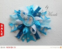 One Day Sale Frozen Bow - - Over the Top Bow - Elsa party - Girls Hair Bows