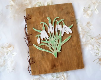 Wedding guest book Personalized rustic guestbook wood journal Snowdrops book Photo Album Custom guestbook Bridal shower gift Girlfriend gift