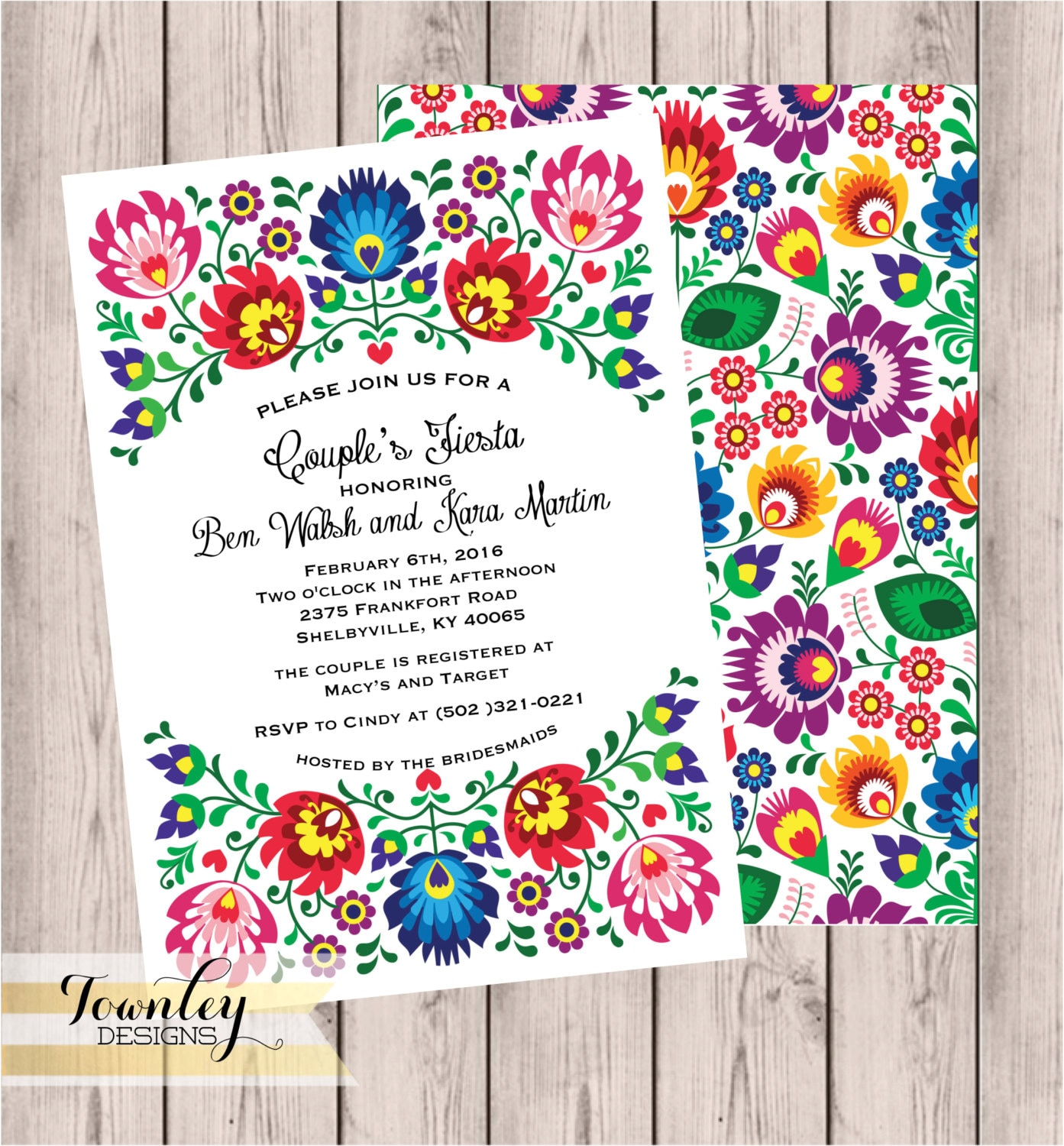 Fiesta Couples Shower Invitation 5x7 Bridal Shower