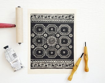 Ceiling I | 9 x 12 Linocut Art Print | Limited Edition Original Artwork | Block Print