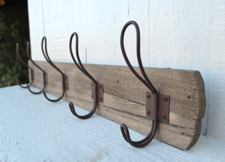 Rustic Coat Rack Key Holder Reclaimed Wood 5 Hook Hanger