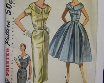 Vintage 1950s Simplicity 1566 ROCKABILLY WIGGLE DRESS Pattern sz 12 Unused