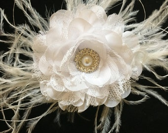 White, Bridal Hair Flower Fascinator, White Hair Flower Lace Hair Fascinator, Ivory Hair Flower Lace Bridal Flower Clip, Dance Costume