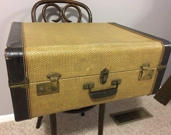 Vintage Early Century Excelsior Leather Banded Herringboned Hard Sided Large Suitcase