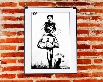 Black White Frida Kahlo Print Download, Frida Kahlo Wall Art, Street Art Frida Stencil, Minimalist Home Decor, Printable Frida Kahlo Art,