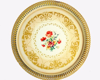 Round Vintage Metal Tray with Original Floral Design, Serving Tray, Shabby Chic Decor