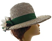 Mr John Straw Hat Wide Brim White with Green Ribbon and Flower