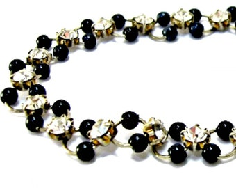 Black Bead and Rhinestone Bracelet Petite