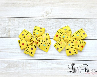 Back to School, Back to School bows, ruler pinwheel set, School bows, pinwheel bows, pinwheel set