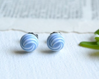Vintage Tiny Blue Swirl Earrings on Hypoallergenic Titanium Posts
