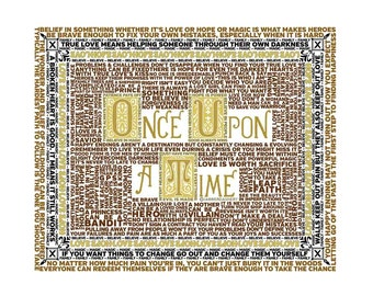 Wisdom of Once Upon A Time StoryBook Favorite Quotes Typography Fairytales Wordshape Wordle, Emma, Hook, Regina,