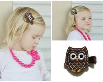 Brown Owl Hair Clip - Felt Hair Clip - Feltie