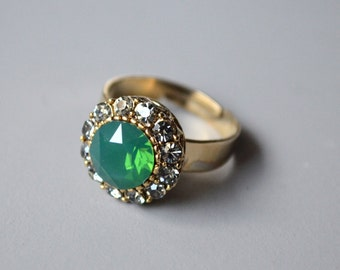 Green opal crystal ring