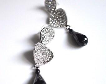 Crystal earrings black drop