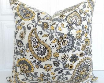 Yellow and Gray Pillow Cover - Linen Pillow - Floral Pillow - 18x18, 20x20, 22x22, Lumbar - Yellow Paisley Pillow - Throw Pillow - Jacobean