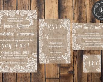 Rustic Burlap & Lace Wedding Invitation Set In White or Black