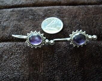 Amethyst Dangle Earrings Studded Sterling Silver 5.6g