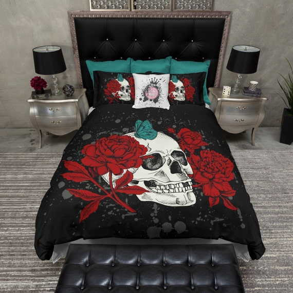 Featherweight Skull Bedding Black Red Amp Teal By Inkandrags