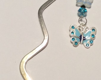 Butterfly bookmark,with blue and white beads, charm butterfly,reading