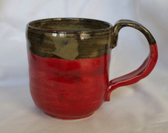 Mug in Hot Tamale (bright Red) and Tiger's Eye (shades of brown)