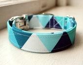 Blue Dog Collar, Geometric Dog Collar, Designer Dog Accessory, Pet Accessories, Adjustable Collar, Fabric Dog Collar, Plastic Nickel Brass