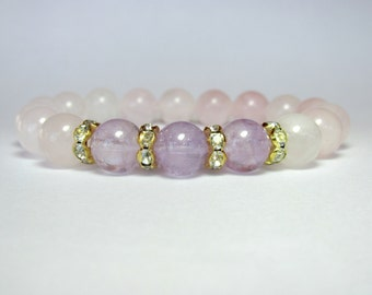 Rose Quartz and Amethyst Bracelet, Ladies Bracelet, Beaded Bracelet, Stretch Bracelet, Gemstone Bracelet, Girlfriend Gift