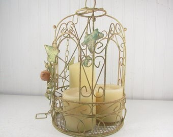 Vintage birdcage , metal birdcage, wedding decor, decorative bird cage, cottage decor, wire birdcage, shabby chic birdcage