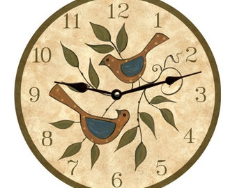 Folk Birds Clock