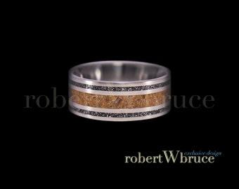 Velociraptor & Meteorite Titanium Ring Dinosaur Bone Groom's Wedding Band - Exclusive rWb Custom Design