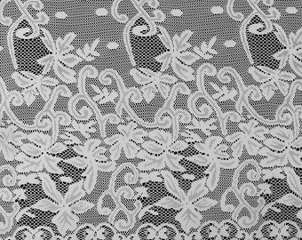 Off White Grace Lace Fabric With Double Floral Border  Fabric By The Yard - Style 557