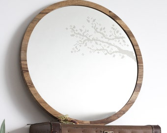 Large round mirror //Branches cross stitch mirror // Decorative mirror // Boho Vintage style // Unique vanity mirror // Woden mirror