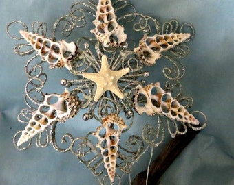 Cut shell christmas tree topper in silver_Coastal christmas tree top