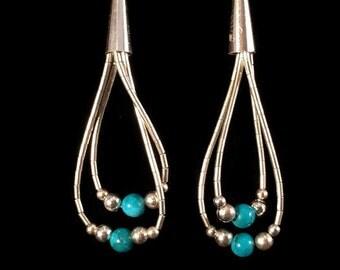 Vintage Liquid Silver Turquoise Earrings - Sterling Silver Earrings - Silver Dangle Earrings