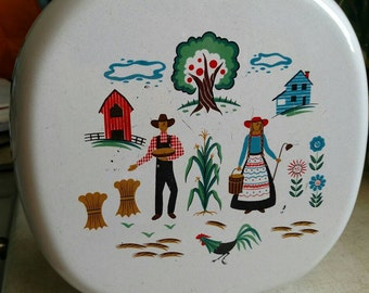 Vintage Painted Fry Pan Farm Scene