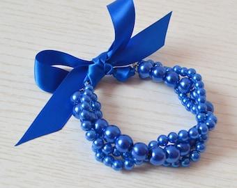 blue  pearl bracelet,blue ribbon bracelet,pearl and ribblon bracelet,bridesmaid braeclet, twisted pearl bracelet, triple strand bracelet