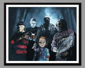 80's Horror movie villain reunion - 11'' x 14'' digital print of original handpainted acrylic painting - Limited Run