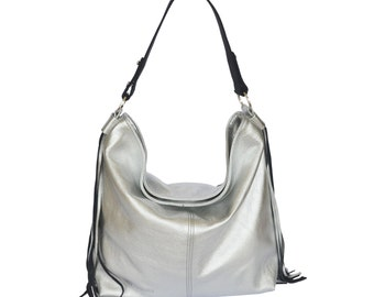 Silver leather hobo bag ,Silver leather purse , women bags,  silver leather bag , leather shoulder bag , crossbody bag
