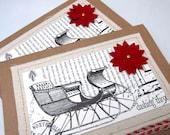 Christmas Card - Christmas Sleigh - Kraft Card - Canvas - Blank Card - Ivory and Black - Rustic - Burlap Ribbon - Old Fashioned Christmas