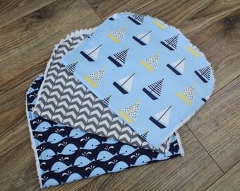 Nautical Burp Cloths - Burp Cloths Boy - Sailboat Burp Cloth - Broken Gray Chevron - Whales - Baby Gift