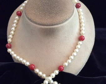 Vintage Long Faux Pearl & Red Beaded Necklace