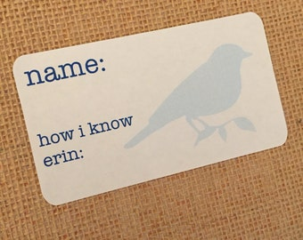 Baby Shower Name Tag Sticker - Bird Name Tag - Bridal Shower Name Tag - Party Name Tag - Personalized Name Tag- Shower Name Tag