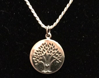 Sterling Silver Tree of Life & Heart Necklace - 18""