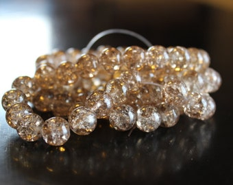 80 approx. light, light, brown, 10 mm crackle glass beads, 1.5 mm hole, one strand of beads for making jewelry