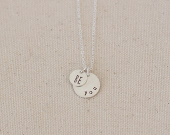 Be You Sterling Silver Pendant Necklace, Double Pendant Necklace, Be You Necklace, Be Yourself Charm Necklace, Be You Silver Necklace